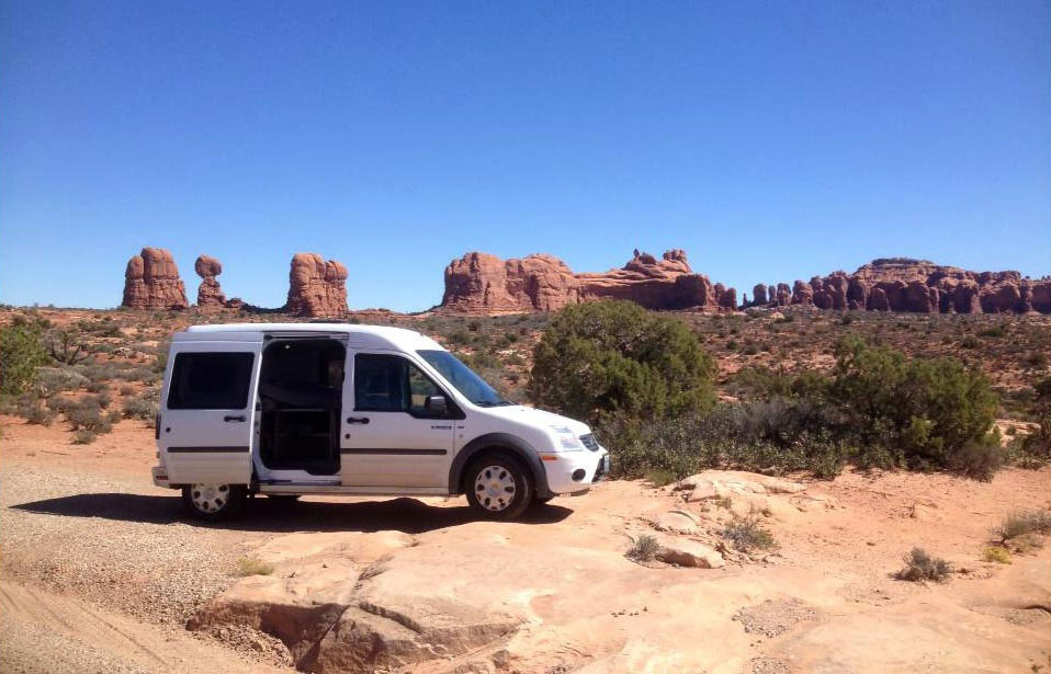 The Edelweiss campervan in Arches National Park