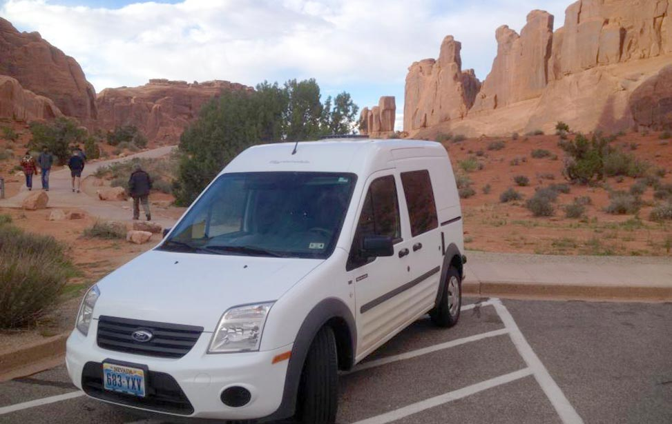 Edelweiss campervan in Arches National Park
