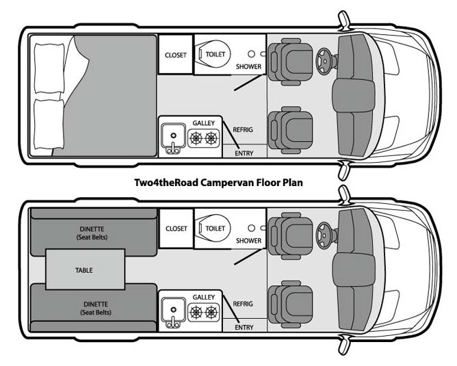 Two4theRoad Campervan Floorplan