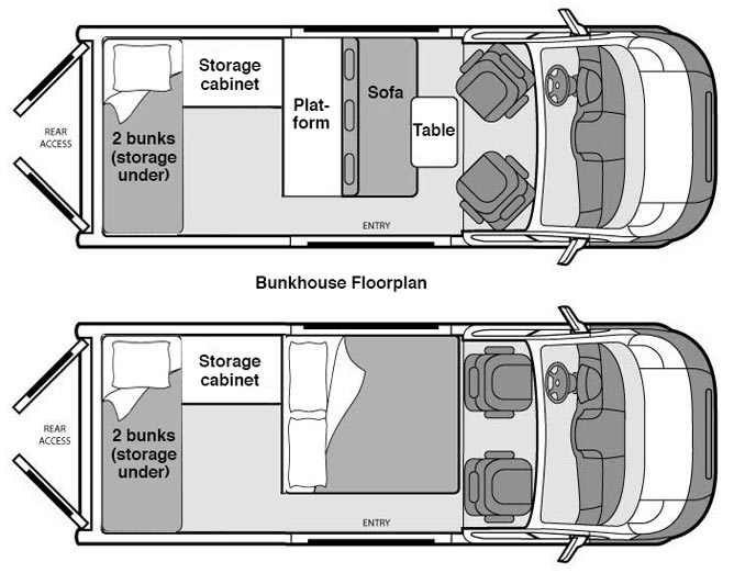 Bunkhouse campervan campervan north america llc Bunkhouse floor plans